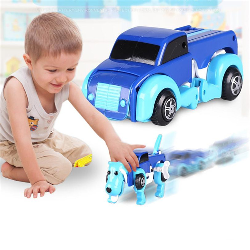High quality Transform Dog Car Novelty Clockwork Deformable Car 14CM Dog-New Year Kid Toy Cool Automatic boy toy birthday Gift30