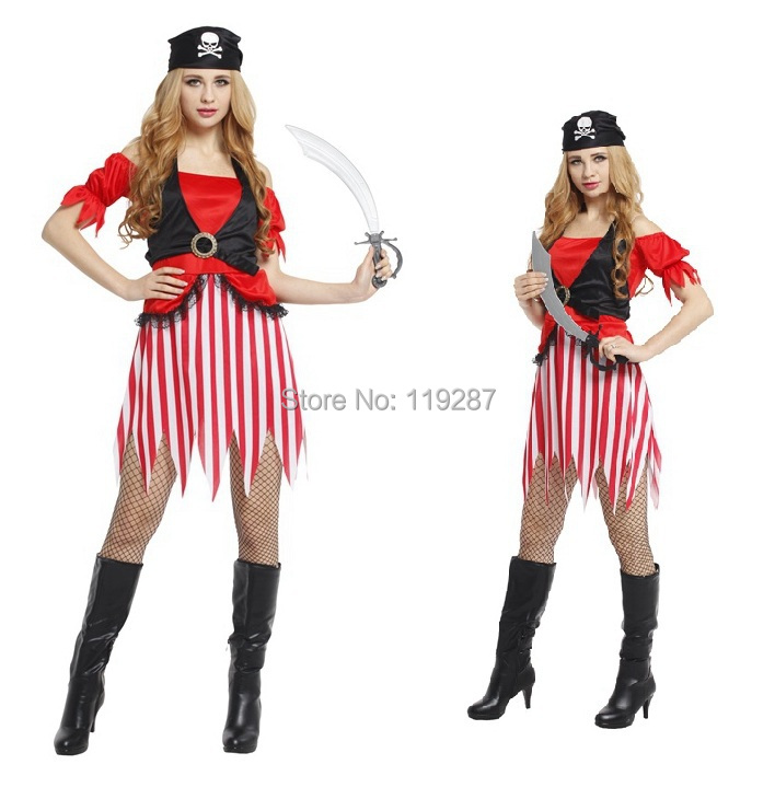 free shipping new halloween costumes womens stage uniforms sexy cosplay costumes exotic apparel pretty pirate costumes - Pirate Halloween Costumes Women