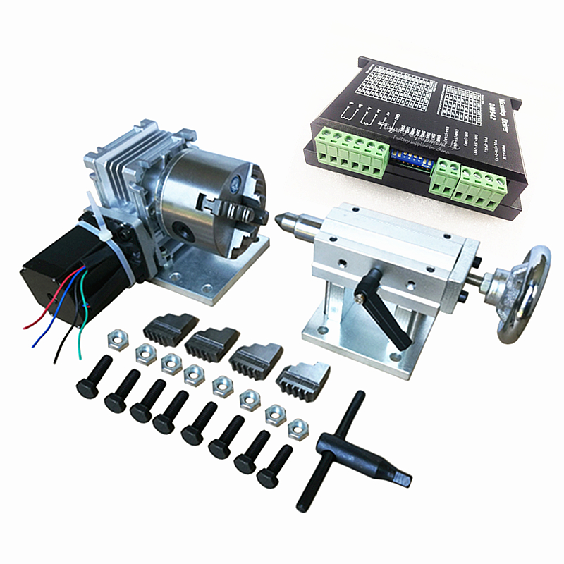 cnc engraving machine kits four Jaw Chuck Rotary axis A axis 4th axis 5th axis + CNC Tailstock+cnc motor driver fifthe 5th axis cnc dividing head a axis rotation fifth axis with chuck 3 jaw chuck cnc engraving machine