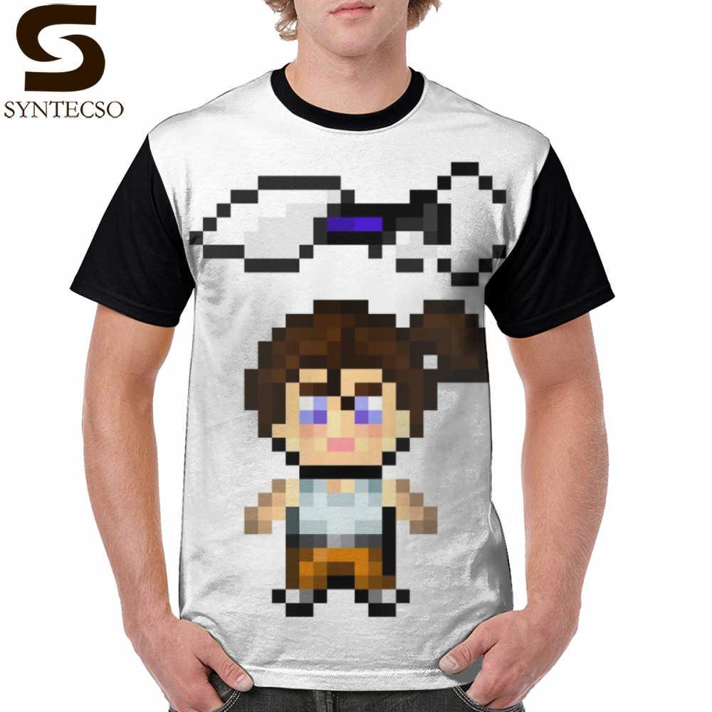 Portal Gun T Shirt Portal Chell Portalgun Pixel Art T Shirt 4xl Funny Graphic Tee Shirt Short Sleeve Mens Printed Tshirt