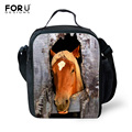 Fashion Thermal Lunch Bags 3D Animal Horse Printing Lunchbox Children Picnic Lancheira Termica Lunch Box Students Kids Food Bags