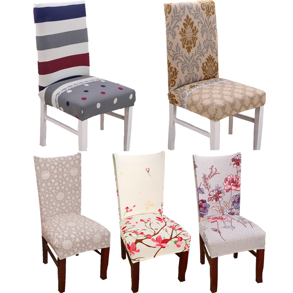 1pc Spandex Elastic Flower Printing Chair protective Slipcover Anti-dirty Stretch Dining Seat Cover Case for Banquet Party