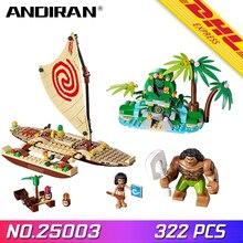 ANDIRAN 25003 для девочек Друзья серии Moanas Вояж по океану восстановление сердца Te Fiti Набор строительных блоков LegoINGlys 41150