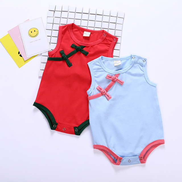 92bdaed11f1 Cotton Baby Girl Romper Chinese Style Clothing Newborn Infant Jumpsuits Girl  Cheongsam Summer Baby Clothes Qipao Romper