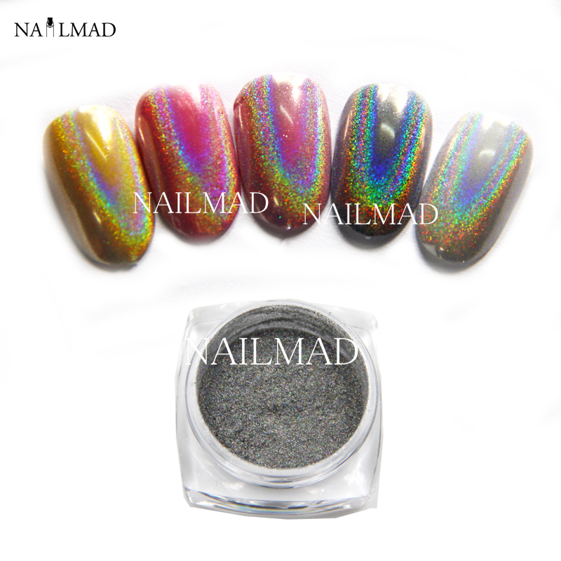 0.5 g / caja Rainbow Pigmento Duocromo Pigmento Holographic Unicorn Powder Hologram Mica Rainbow Holographic Powder