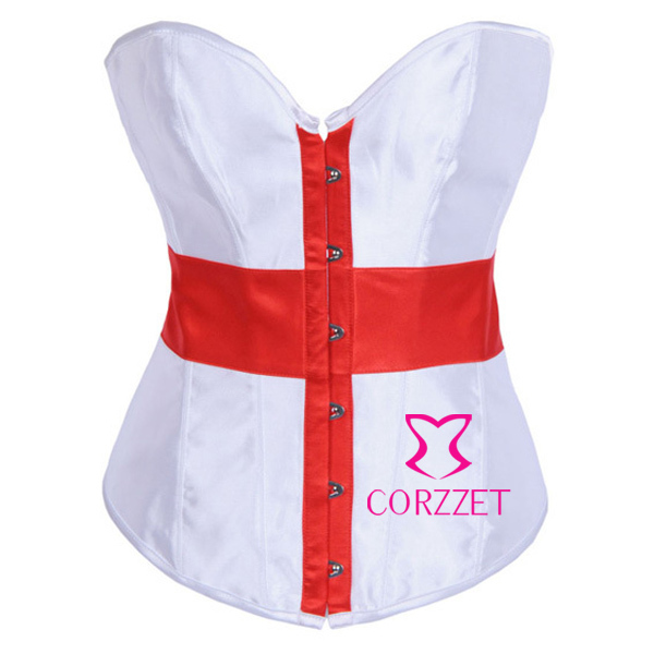 Red Cross Flag Print Design White Satin Strapless Overbust   Bustier  &  Corsets   Basques Cropped Top corpetes e espartilhos For Women