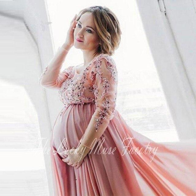 Langarm Abendkleider Schwangere 2017 Plus Size Applizierte Perlen ...