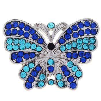 JaynaLee 20mm azul cristal Animal mariposa Ginger Snaps ajuste intercambiable Snap joyería para Mujeres Hombres regalos GJS1045