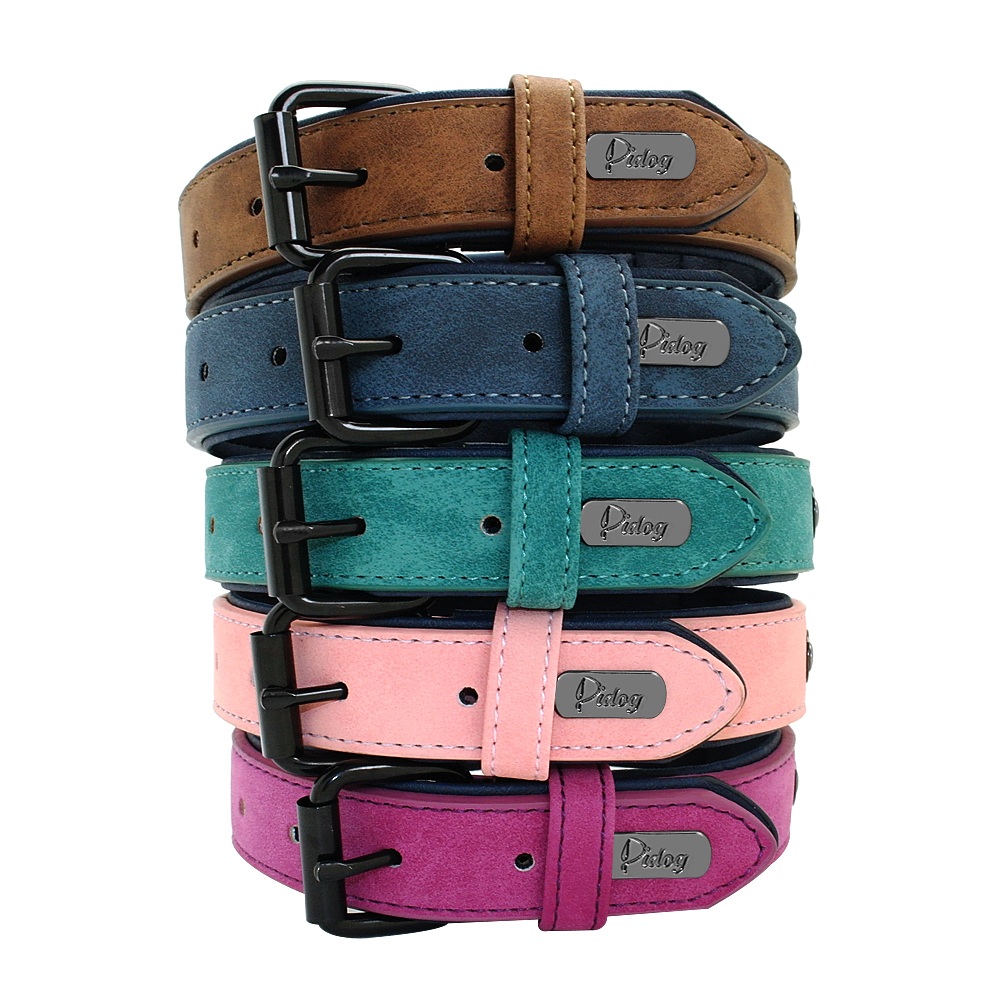 Soft Dog Collars Leather Padded Big Dog Pitbull Bulldog Collar Adjustable For Small Medium Large Dogs Beagle Collar Para Perro