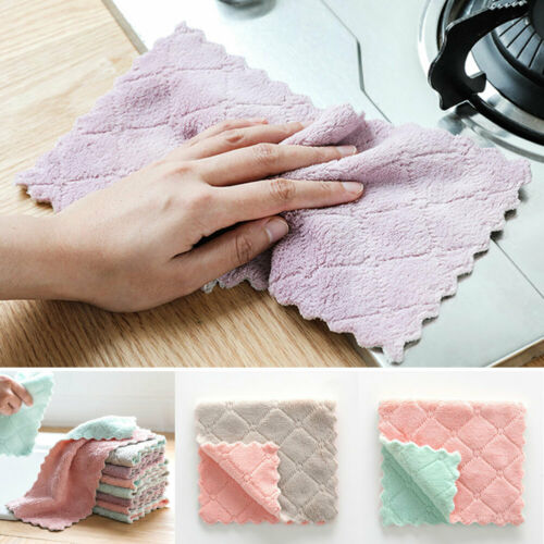 Water Absorbent Soft Coral Fleece Home Kitchen Towel Cleaning Cloth 3 Colors KI