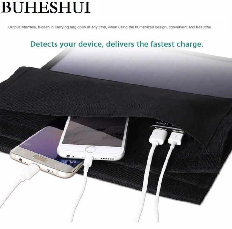 BUHESHUI 22 W Pliable Panneau Solaire Chargeur Portable Double USB Chargeur Solaire Pour iphone/Puissance Banque Sunpower Haute Efficacité NOUVEAU