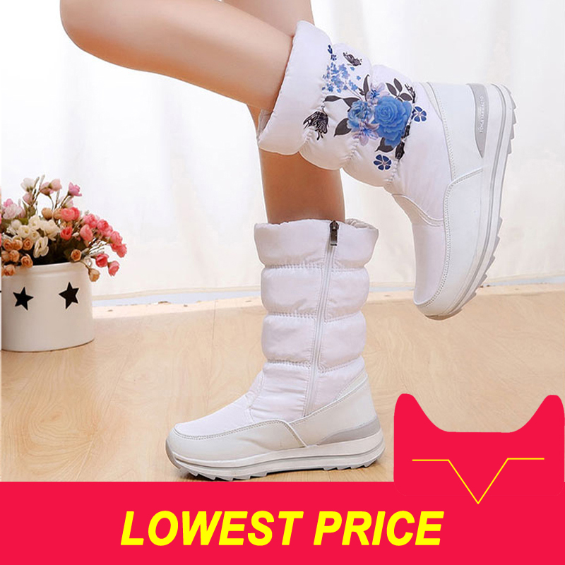 2018 Women winter boots flat warm non slip waterproof women snow boots platform winter shoes thicken fur for 40 degrees