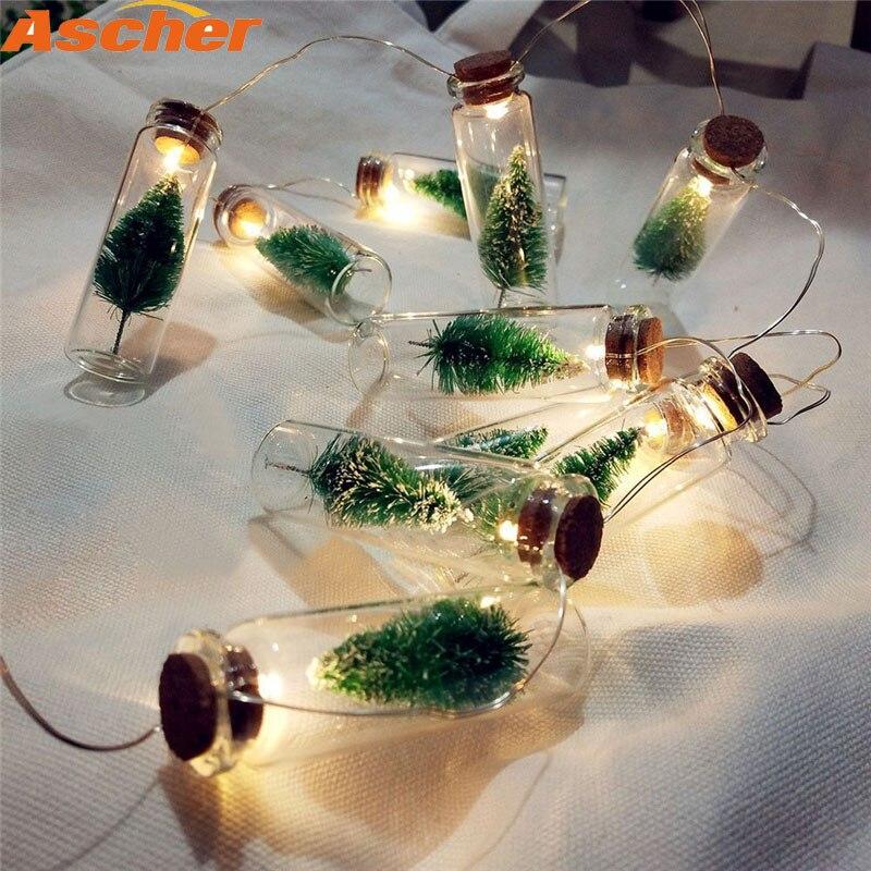 2018 New Arrival 1M 10LED Xmas Home Decorations Christmas Tree Mason Jar String Fairy Lights Glass Bottle Garland Bulbs Outdoor