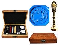Vintage Fancy Dragon Custom Luxury Wax Seal Sealing Stamp Brass Peacock Metal Handle Sticks Melting Spoon