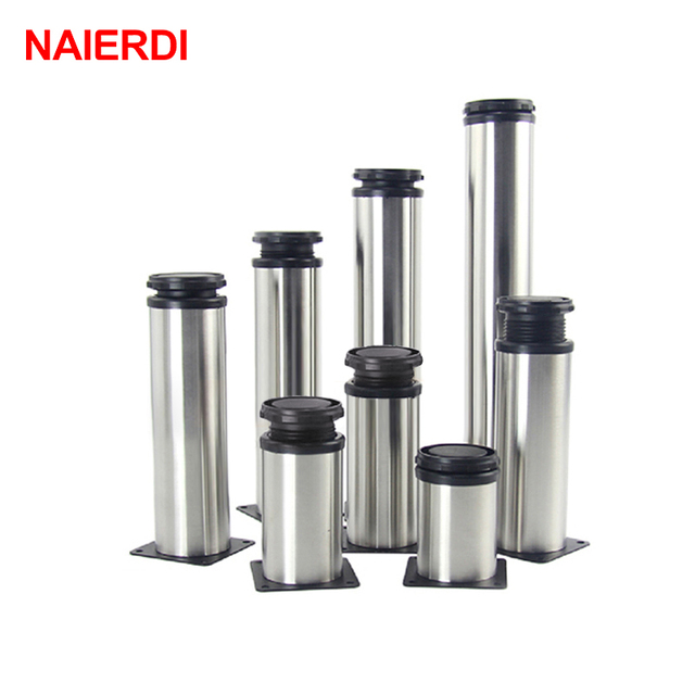 NAIERDI 5CM 30CM Furniture Adjustable Cabinet Legs Stainless Steel Table  Sofa Metal Foot With Screws