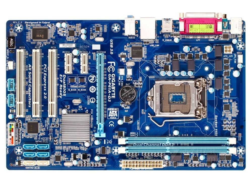 все цены на original motherboard for Gigabyte GA-P61A-D3 DDR3 LGA 1155 boards P61A-D3 16GB usb3.0 H61 Desktop Motherboard Free shipping онлайн