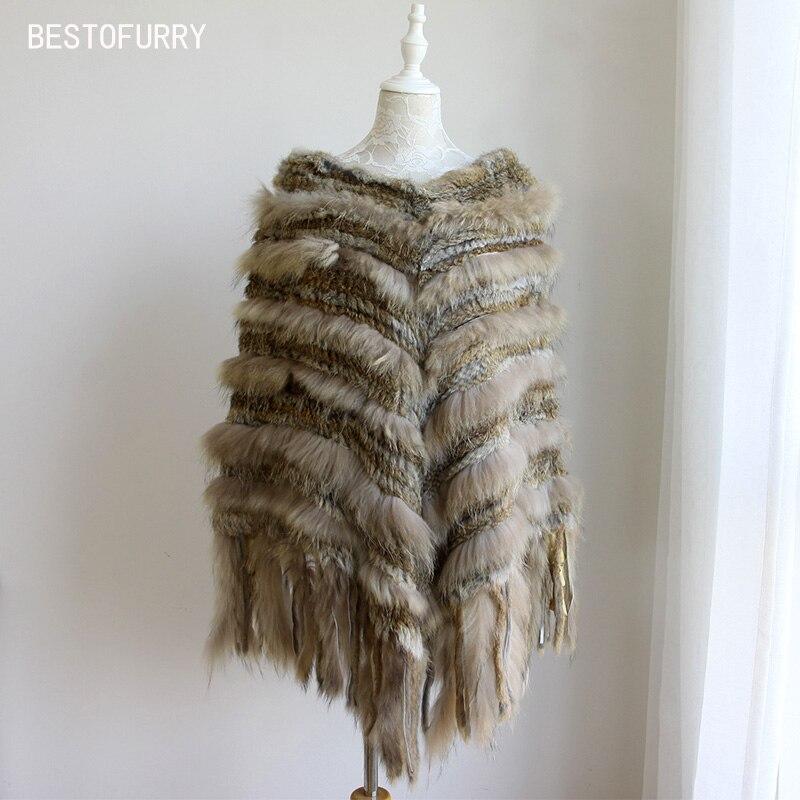 2019 Neue Mode Winter Vintage V-ausschnitt Frauen Echt Kaninchen Pelz Waschbär Fell Stricken Poncho Schal Cape Pelz Mantel Jakcet Rcs0020