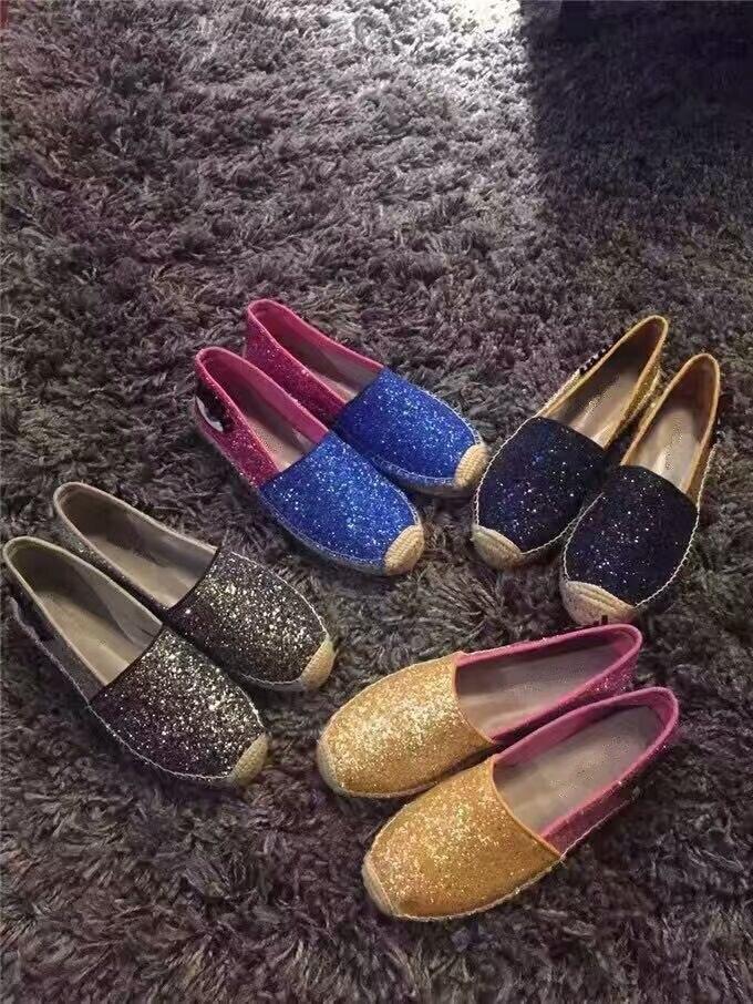 Venta caliente brillante de bling Comfortale Alpargatas Slip,on de los holgazanes de los zapatos
