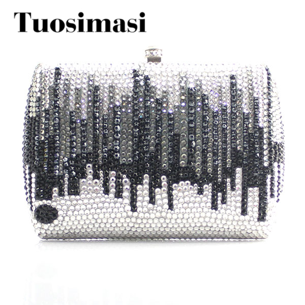 Gift Box Packed Women Crystal Evening Metal Clutches Small Minaudiere Handbag Wedding Clutch luxury crystal clutch handbag women evening bag wedding party purses banquet