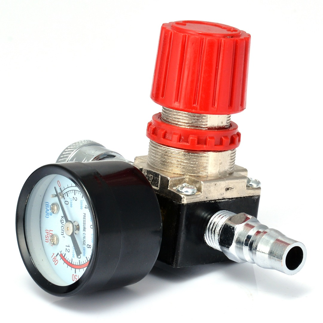 1pc 180PSI 12 Bar Pressure Regulator  Switch Control Valve with Gauges 1/4 For Air Compressor 1pc air compressor pressure regulator valve air control pressure gauge relief regulator 75x40x40mm