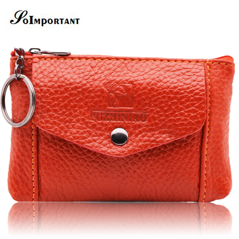 купить New Genuine Leather Mini Women Wallets Female Small Coin Purse Credit Card Holder Magic Zipper Walet Money Bag With Key Ring по цене 541.94 рублей