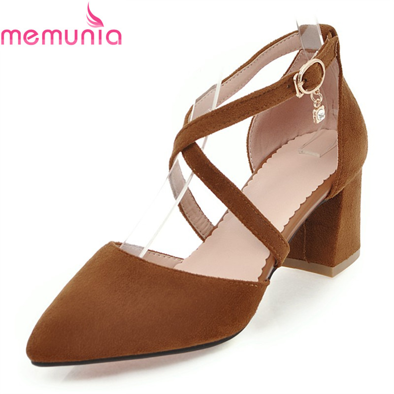 MEMUNIA 2018 new arrive fashion cross-tied women pumps thick high heels pointed toe high quality solid casual shoes memunia 2018 new arrive women pumps