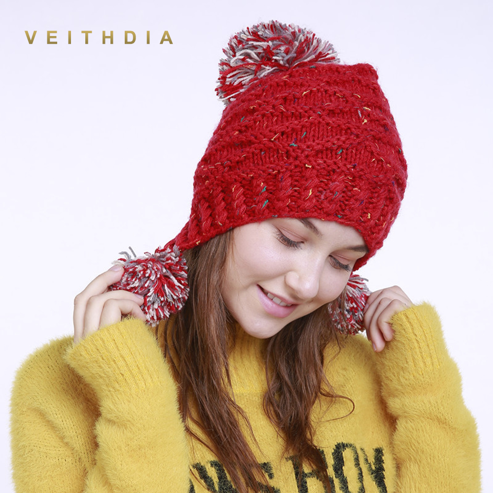 VEITHDIA 2019 Handmade Winter Knitted Hat Women Caps 3 Hairball Bonnet Warm Baggy Winter Hats For Girls   Skullies     Beanies