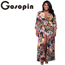 Plus Size Sleeved Floral Romper Maxi Clubwear