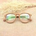 De Gama alta De Madera Marco de Los Vidrios Hombres Mujeres Retro Redondo Claro Vidrios Ópticos Monturas de gafas de Montura de Las Gafas De Madera de La Vendimia