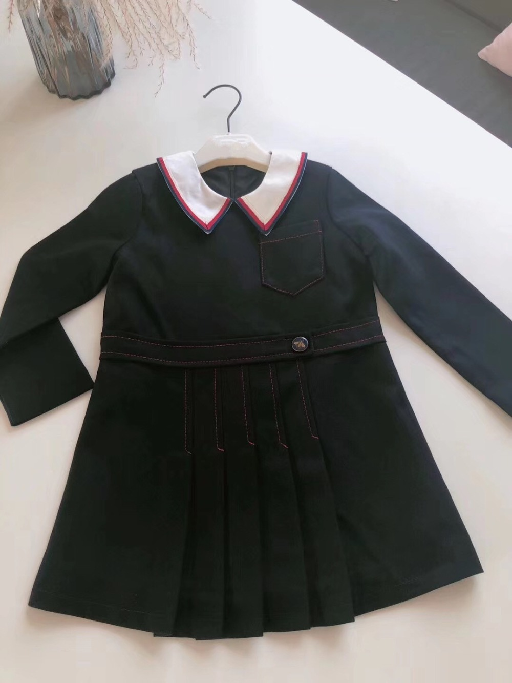 2018 New Autumn Winter Girls Dress School Dresses For Girls O neck Long Sleeve Kids Dresses A Line Children Clothes new summer fashion women s clothing striped printing chiffon rayon a line long dress o neck female half sleeve plus size dresses