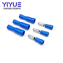 50/100pcs Blue Female and Male Insulated Electric Connector Crimp Bullet terminal for 16~14 AWG Audio Wiring MPD2-250 FRD2-250