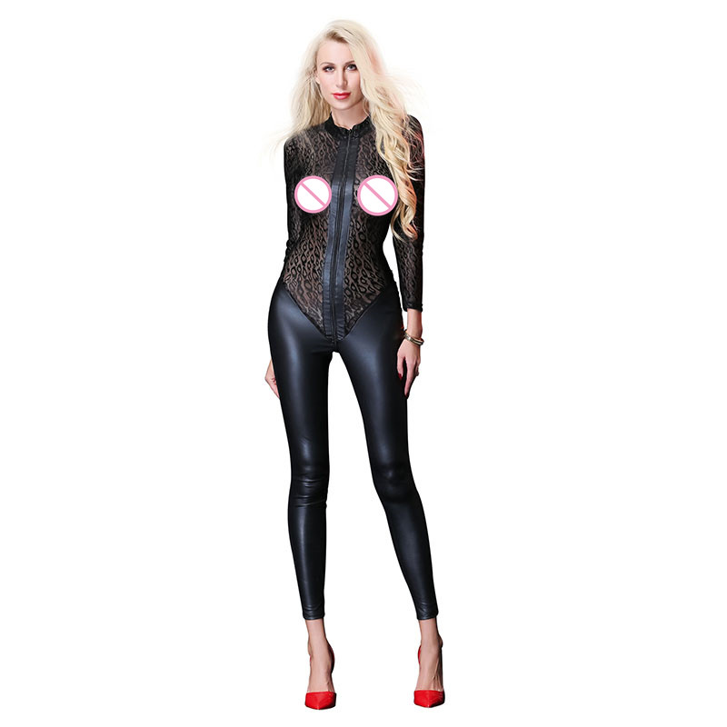 AIIOU Faux Leather Jumpsuit Spandex Latex Catsuit Women Mesh Lace Stitching Long Sleeves Rompers Overalls Zipper Black Bodysuits