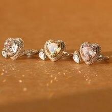 Elegante Moda jóias de Prata Esterlina ródio Branco Chapeado Beleza Senhora Coração de Pedra de Cristal de Casamento das Mulheres Anéis Tamanho 6 7 8 venda quente