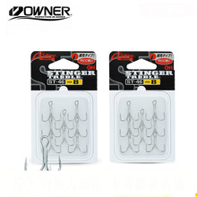 купить OWNER ST46 Treble Hooks 2# 4# 6# 8# Barbed Hook Super Light Sharp Ocean Three Anchor Hooks Carp Squid Black Pesca Fishing Tackle дешево