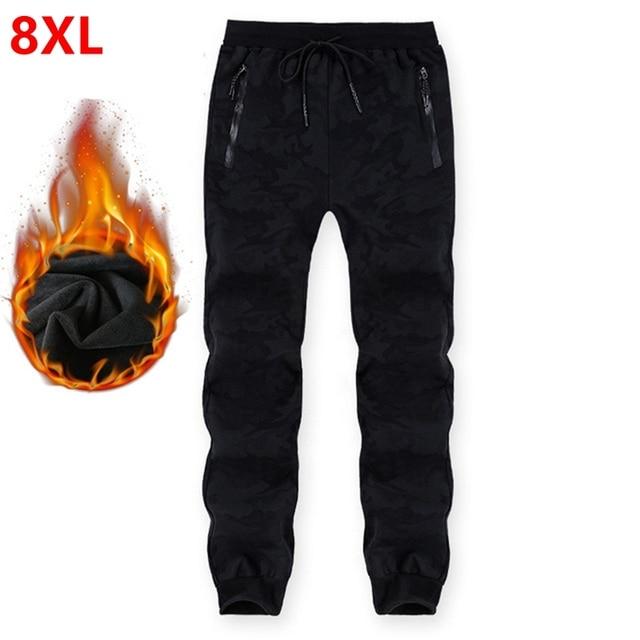 Pantalones de chándal de talla grande para hombre, pantalón cálido, con cintura elástica, de camuflaje, informal, grueso, de terciopelo, para invierno, 8XL, 7XL, 6XL, 5XL