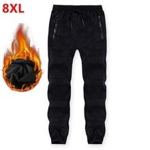 Tamanho grande sweatpants masculino inverno mais veludo espessamento casual camuflagem masculina cintura elástica calças quentes 8xl 7xl 6xl 5xl