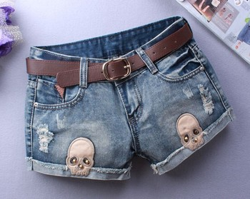 Woman Skull Ripped Shorts Women Denim