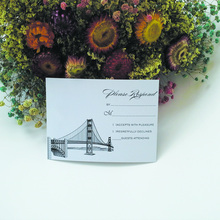 New design 148*100mm Bridge elements paper RSVP cards with blank RSVP envelopes(1 lot=100pcs)