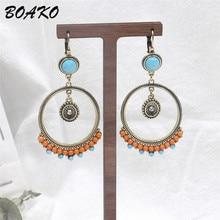 BOAKO Bohemian Round Earrings Colorful Resin Beaded Earrings Women Female Long Dangle Drop Earrings Vintage Ethnic Party Jewelry