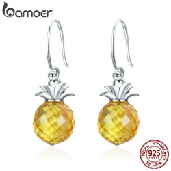BAMOER 100% 925 Sterling Silver Hanging Pineapple Crystal Hanging Drop Earrings for Women Sterling Silver Jewelry Gift SCE265