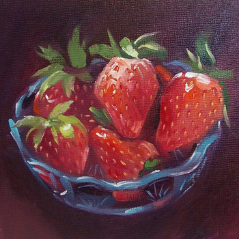 Pure Handmade Still Life Modern Delicious Strawberry Fruit in Basket Canvas Oil Painting for Wall Decor Art Pictures