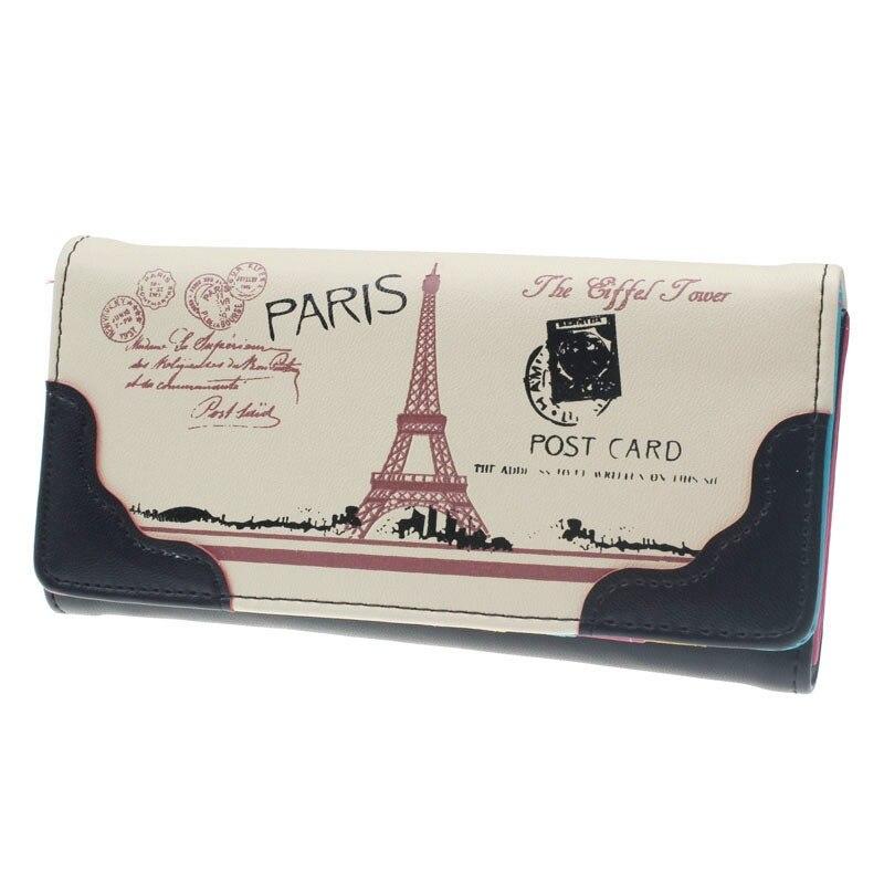 Women Pink Cute Print Leather Long Button Purse Paris Tower Purse Female Wallet Card Holder Best Gift For Women Girlfriend