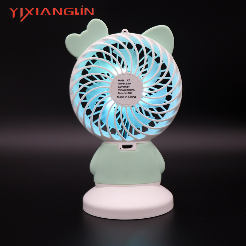 YIXIANGLIN EFA08 01 Mini Handheld Fan with 7color led light l USB Charging Mini Desk Fan Rechargeable ABS Portable For sale