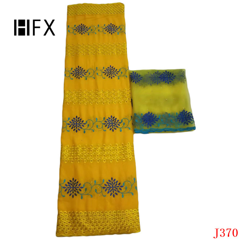HFX Bazin African Lace 2019 Nigeria Embroidery Wedding Cotton Voile Lace Fabric Yellow Swiss Lace with Blouse L370HFX Bazin African Lace 2019 Nigeria Embroidery Wedding Cotton Voile Lace Fabric Yellow Swiss Lace with Blouse L370