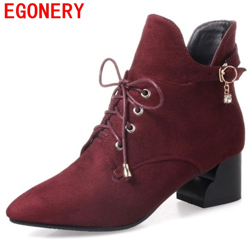 egonery shoes woman booties plus size pointed toe fashion ankle boots Rhinestones real suede leather woman quality footwear red front lace up casual ankle boots autumn vintage brown new booties flat genuine leather suede shoes round toe fall female fashion