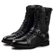 Hot European Luxury Branded Men s Leather Boots Punk Rock Martin Boots Black Mid calf Leather