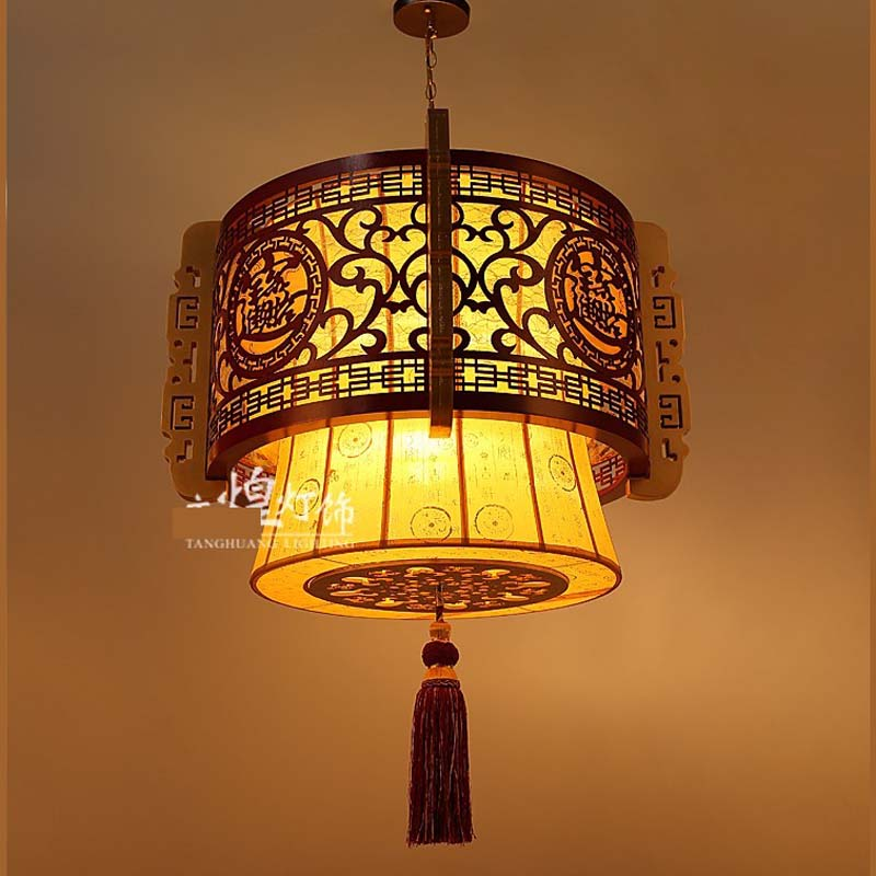 home lighting Pendant Lights hotel classical Chinese restaurant antique parchment lamp lighting lamp wooden bedroom LU71594 chinese style classical wooden sheepskin pendant light living room lights bedroom lamp restaurant lamp restaurant lights