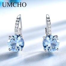 967bb89dbc46 UMCHO plata maciza 925 joyas ronda creado Nano cielo azul Topacio  pendientes de Clip pendientes largos aretes pendientes de Muje.