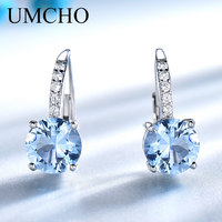 UMCHO Solid Silver 925 Jewelry Round Created Nano Sky Blue Topaz Clip Earrings For Women Birthday Gifts Charms Fine Jewelry
