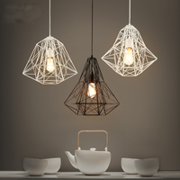 Retro Iron Diamond Birdcage Pendant Light American country Restaurant Showcase Art Lighting